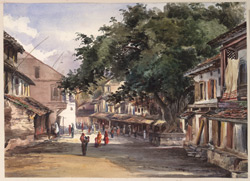 'A Street in the City of Poonah [Pune]. 29th August 1871. George Hogg with me'.